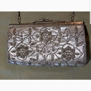 Silver convertable beaded crossbody evening bag